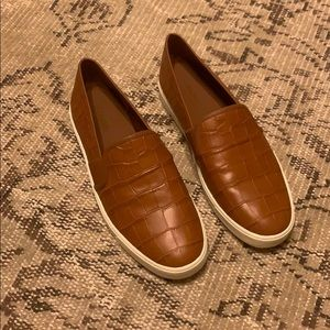 Vince crocodile embossed leather sneakers